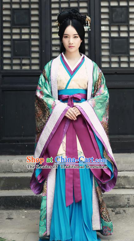 Chinese Han Dynasty Imperial Concubine Jia Hanfu Dress Ancient Palace Lady Replica Costume for Women