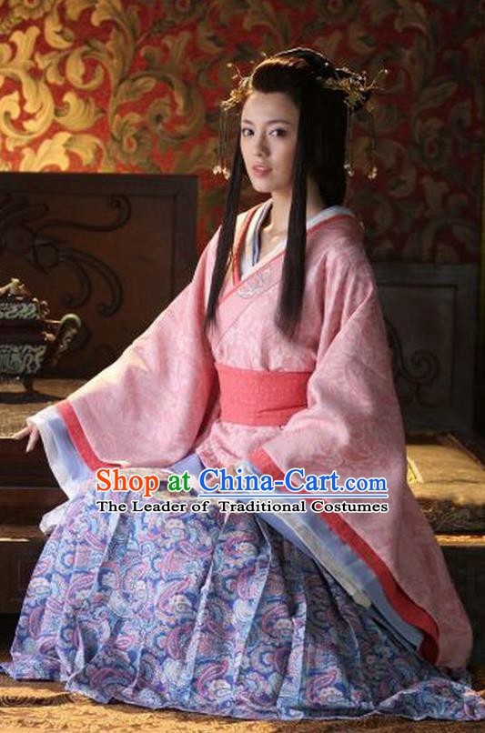 Chinese Han Dynasty Princess Lu Yuan Hanfu Dress Ancient Palace Infanta Embroidered Replica Costume for Women