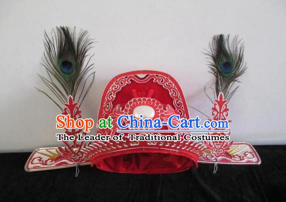 Traditional Chinese Beijing Opera Scholar Red Hats Peking Opera Niche Bridegroom Headwear
