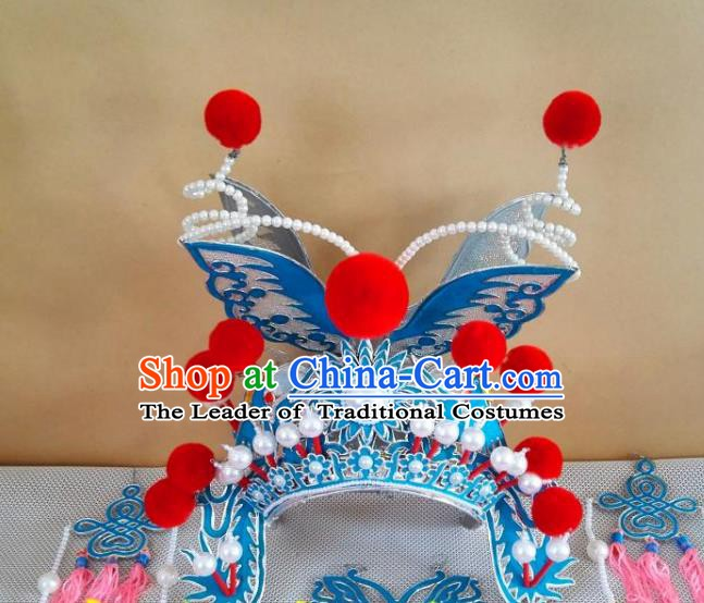 Chinese Traditional Beijing Opera Martial Arts Diva Phoenix Coronet Hair Accessories Peking Opera Actress Hats Headwear