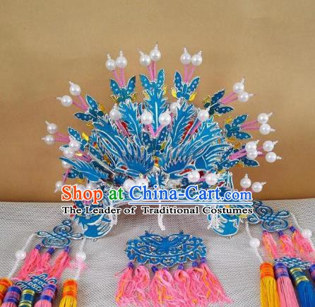 Chinese Traditional Beijing Opera Diva Blue Butterfly Phoenix Coronet Hair Accessories Peking Opera Actress Hats Headwear