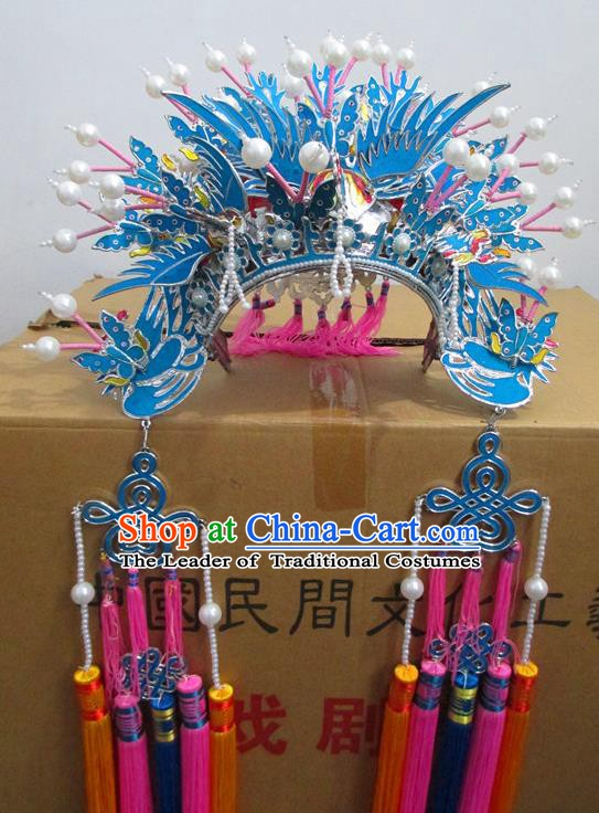 Traditional Chinese Beijing Opera Diva Blue Phoenix Coronet Hair Accessories Peking Opera Actress Hats Headwear