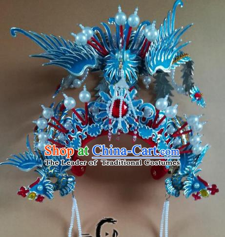 Chinese Traditional Beijing Opera Diva Phoenix Coronet Peking Opera Queen Hats Headwear