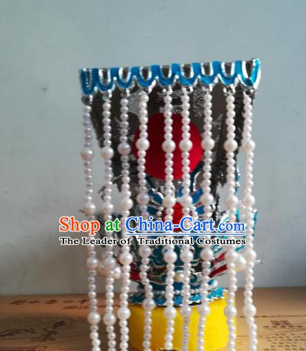 Traditional Chinese Beijing Opera Emperor Hair Accessories Peking Opera Tassel Hair Crown Headwear