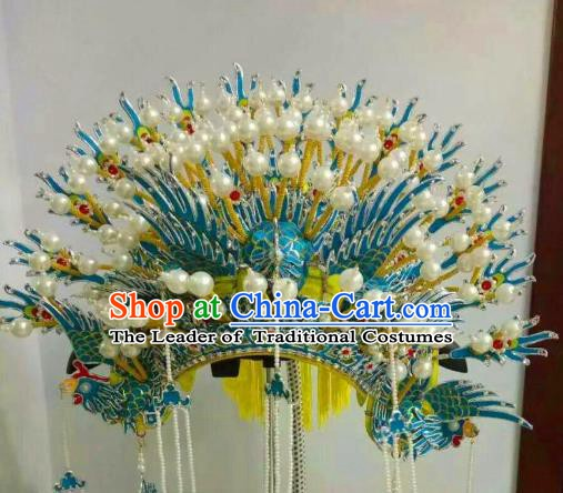Traditional Chinese Beijing Opera Imperial Consort Phoenix Coronet Hair Accessories Peking Opera Actress Hats Headwear