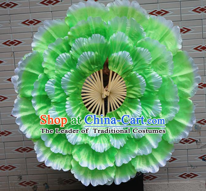 Chinese Folk Dance Props Accessories Stage Performance Green Peony Folding Fans for Kids