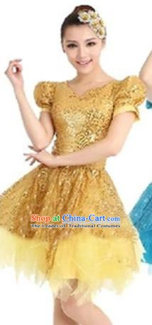 Top Grade Modern Dance Costume Stage Performance Clothing Chorus Yellow Bubble Dress for Women