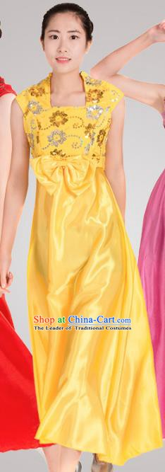 Top Grade Modern Dance Costume Stage Performance Compere Clothing Chorus Yellow Dress for Women