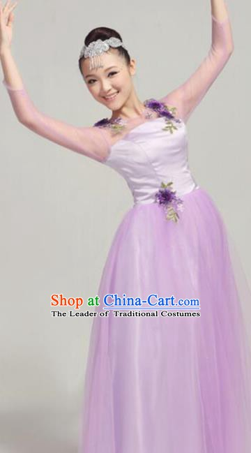 Top Grade Modern Dance Costume Stage Performance Compere Clothing Chorus Lilac Dress for Women