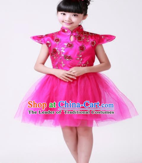 Top Grade Modern Dance Costume Stage Performance Compere Chorus Rosy Bubble Dress for Kids