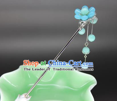 Chinese Ancient Handmade Hair Accessories Blue Beads Tassel Step Shake Hair Stick Hairpins for Women
