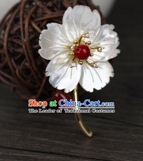 Chinese Ancient Handmade Brooch Accessories Shell Flower Breastpin for Women