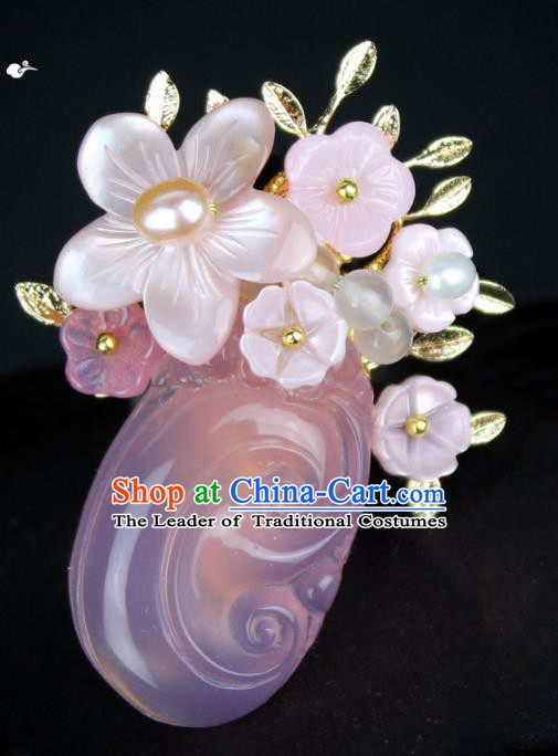 Chinese Ancient Handmade Brooch Accessories Pink Shell Flower Breastpin for Women