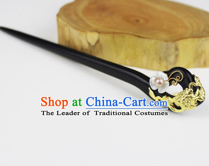 Chinese Ancient Handmade Hair Accessories Classical Hairpins Ebony Hair Clips For Women