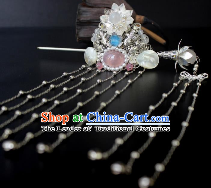 Chinese Ancient Handmade Hair Accessories Classical Hairpins Tassel Hairdo Crown for Women