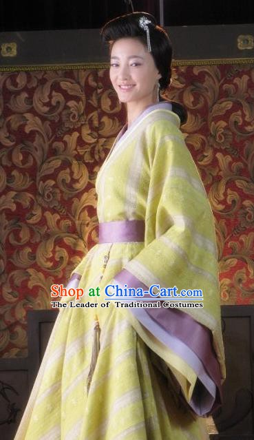 Ancient Chinese Han Dynasty Empress Wang Zhi Traditional Replica Costume Queen Hanfu Dress for Women
