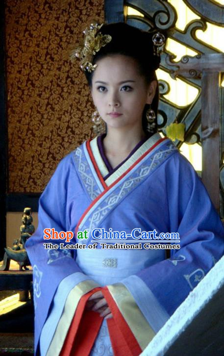 Ancient Traditional Chinese Han Dynasty Imperial Concubine of Liu Qi Replica Costume Hanfu Dress for Women