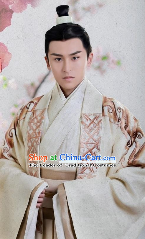 Traditional Ancient Chinese Han Dynasty General Wei Ying Replica Costume for Men