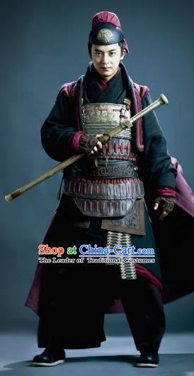 Traditional Ancient Chinese Han Dynasty General Feng Yi Helmet and Armour Replica Costume for Men