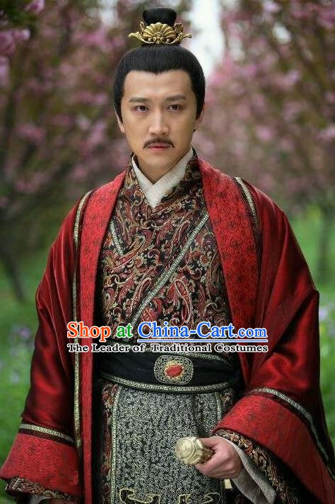 Traditional Ancient Chinese Han Dynasty Emperor Yuan Liu Shi Replica Costume for Men