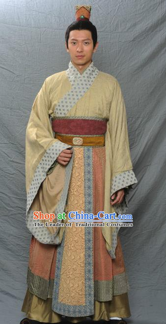 Traditional Ancient Chinese Three Kingdoms Period Nobility Childe Replica Costume for Men