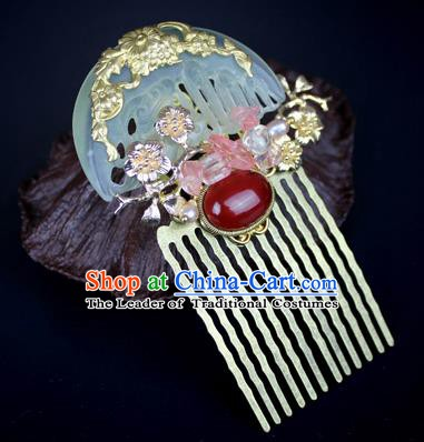 Chinese Ancient Handmade Hair Accessories Classical Hairpins Wedding Jade Hair Comb for Women