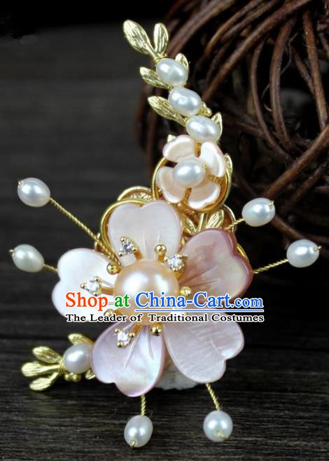 Chinese Ancient Handmade Accessories Pink Shell Flower Brooch Hanfu Breastpin for Women