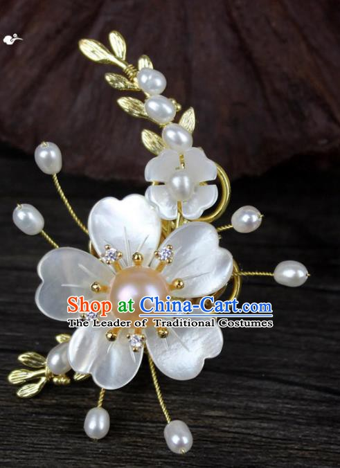 Chinese Ancient Handmade Accessories Shell Flower Brooch Hanfu Breastpin for Women
