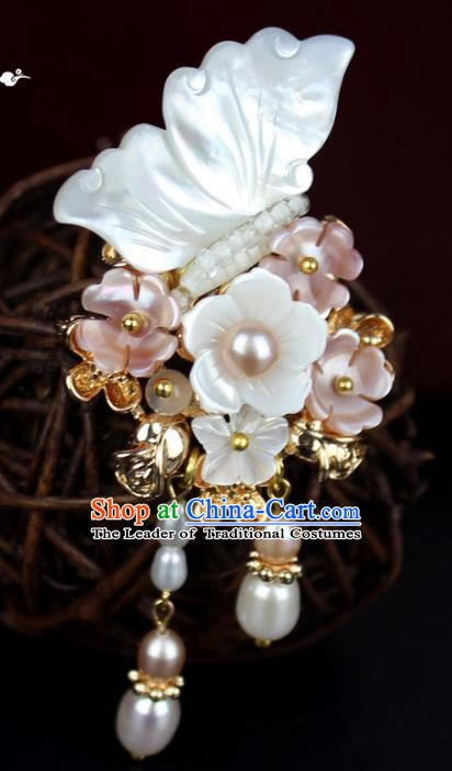 Chinese Ancient Handmade Accessories Shell Butterfly Brooch Hanfu Breastpin for Women