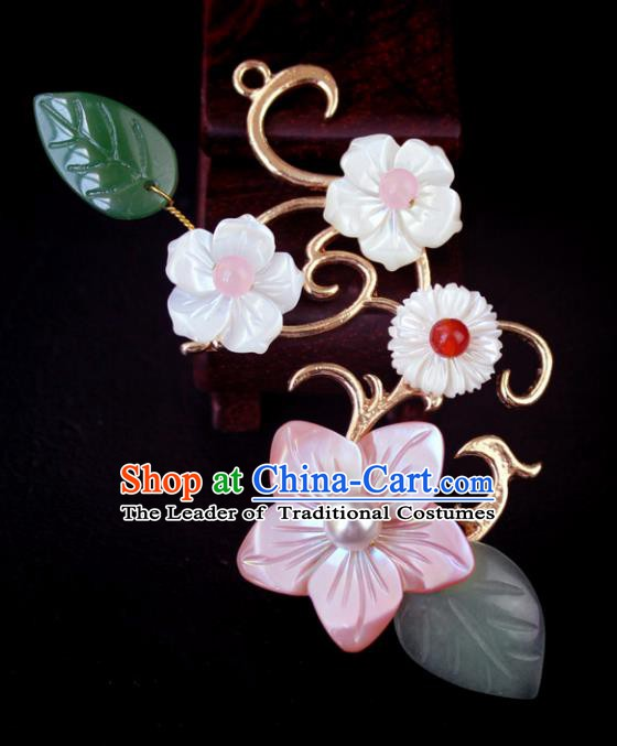 Chinese Ancient Handmade Hair Accessories Classical Hairpins Hanfu Shell Flowers Hair Stick for Women