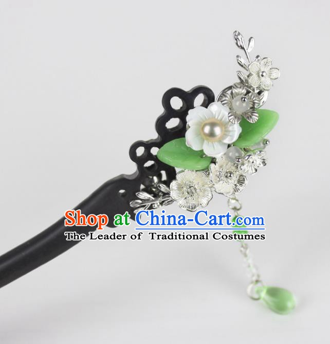 Chinese Ancient Handmade Hair Accessories Classical Hairpins Hanfu Green Beads Hair Stick for Women