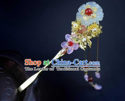 Chinese Ancient Handmade Hair Accessories Hairpins Classical Hanfu Red Beads Step Shake for Women