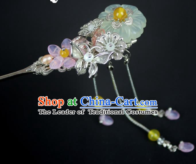 Chinese Ancient Handmade Hair Accessories Hairpins Classical Hanfu Yellow Beads Step Shake for Women