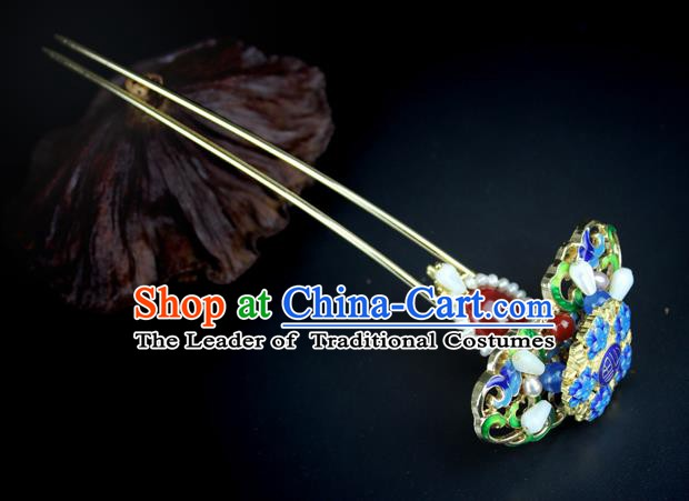 Chinese Ancient Handmade Hair Accessories Wedding Hair Clip Classical Hanfu Blueing Hairpins for Women