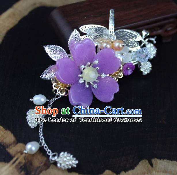 Chinese Ancient Handmade Hair Accessories Hairpins Classical Hanfu Purple Flower Hair Claw for Women