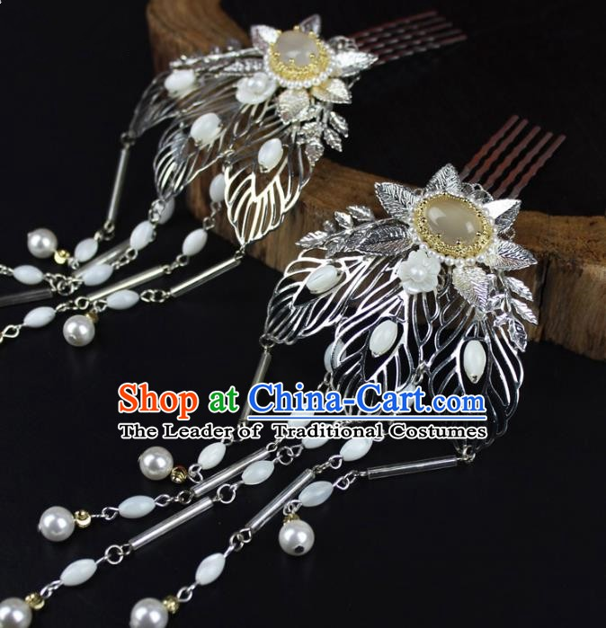 Chinese Ancient Handmade Hair Accessories Hairpins Classical Hanfu Tassel Hair Combs for Women