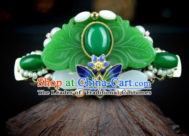 Chinese Ancient Handmade Hair Accessories Wedding Hair Stick Classical Hanfu Blueing Jade Butterfly Hairpins for Women