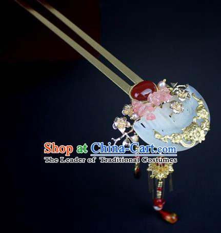 Chinese Ancient Handmade Hair Accessories Jade Tassel Hair Clip Classical Hanfu Hairpins for Women