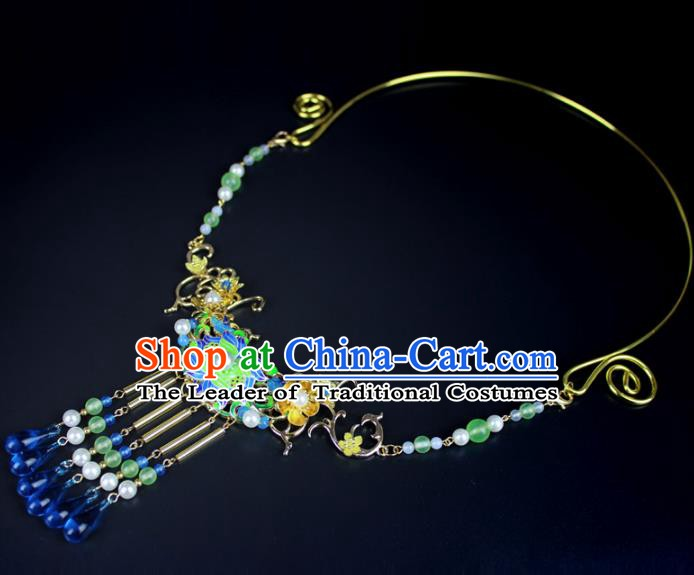 Chinese Ancient Handmade Accessories Blueing Necklace Crystal Tassel Necklet for Women