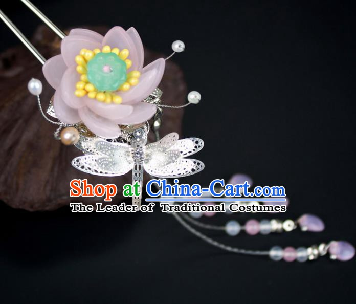 Chinese Ancient Handmade Hair Accessories Dragonfly Lotus Step Shake Classical Hanfu Tassel Hairpins for Women