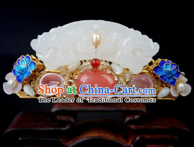 Chinese Ancient Handmade Hair Accessories Blueing Lotus Hair Comb Classical Hanfu Jade Hairpins for Women