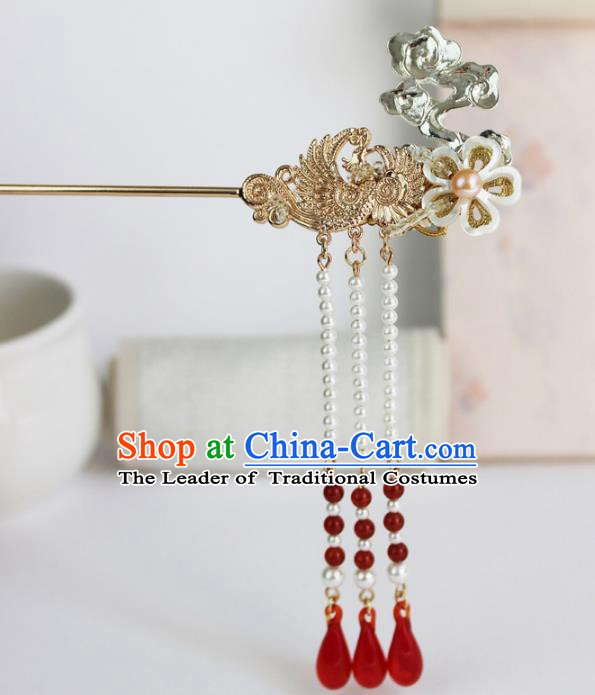 Chinese Ancient Handmade Hair Accessories Phoenix Step Shake Classical Hanfu Tassel Hairpins for Women