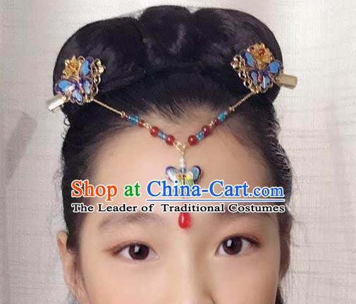 Chinese Ancient Handmade Hair Accessories Blueing Hair Clasp Classical Hanfu Butterfly Frontlet Hairpins for Women