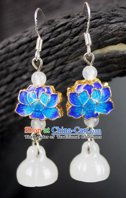 Chinese Ancient Handmade Accessories Eardrop Blueing Lotus Earrings for Women