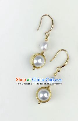 Chinese Ancient Handmade Accessories Eardrop Pearl Earrings for Women