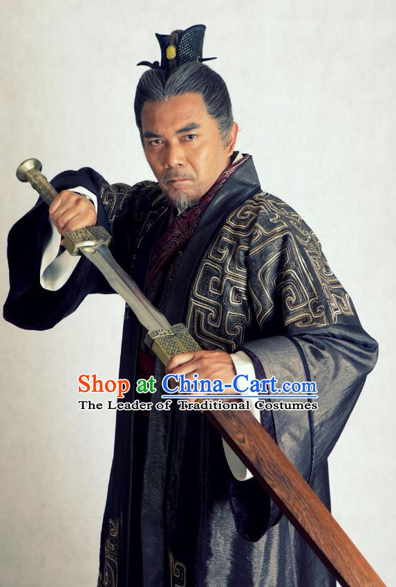Traditional Chinese Wei and Jin Dynasties Grand Commandant Sima Kui Replica Costume for Men
