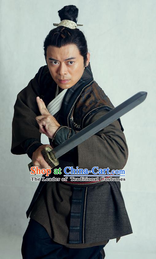 Traditional Chinese Wei and Jin Dynasties Swordsman Knight Replica Costume for Men