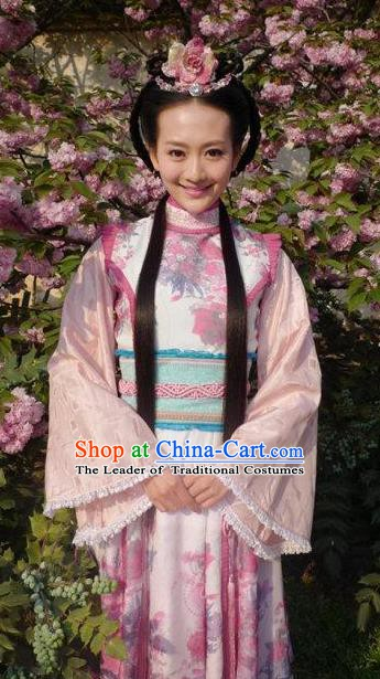 Chinese Ancient Wei and Jin Dynasties Princess Embroidered Hanfu Dress Replica Costume for Women