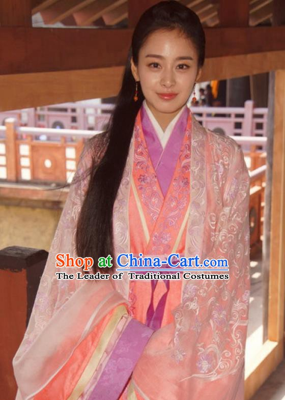 Chinese Ancient Wei and Jin Dynasties Nobility Lady Chi Xuan Wife of Wang Xizhi Hanfu Dress Replica Costume for Women