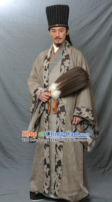 Ancient Chinese Three Kingdoms Period Kingdom Shu Prime Minister Sleep Dragon Zhuge Liang Replica Costume for Men